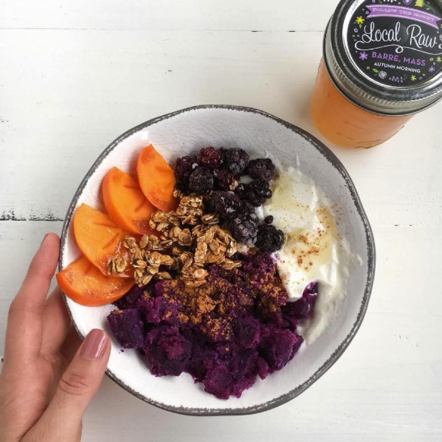 Purple Sweet Potato Breakfast Bowl With Yogurt and Granola - Breakfast Bowl PNG