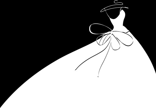 beautiful wedding dress silhouette design vector - Bridal Gown Silhouettes PNG