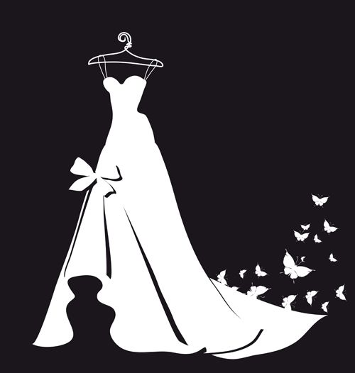 dress silhouettes | The Beautiful wedding dress silhouette design vector 05  free is a . - Bridal Gown Silhouettes PNG