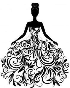 Vector silhouette of young woman in elegant wedding dress Stock Photo - Bridal Gown Silhouettes PNG