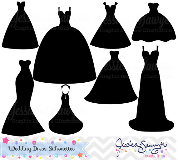 Wedding dress clipart, silhouette clipart, for greeting cards,  announcements, scrapbooking - Bridal Gown Silhouettes PNG