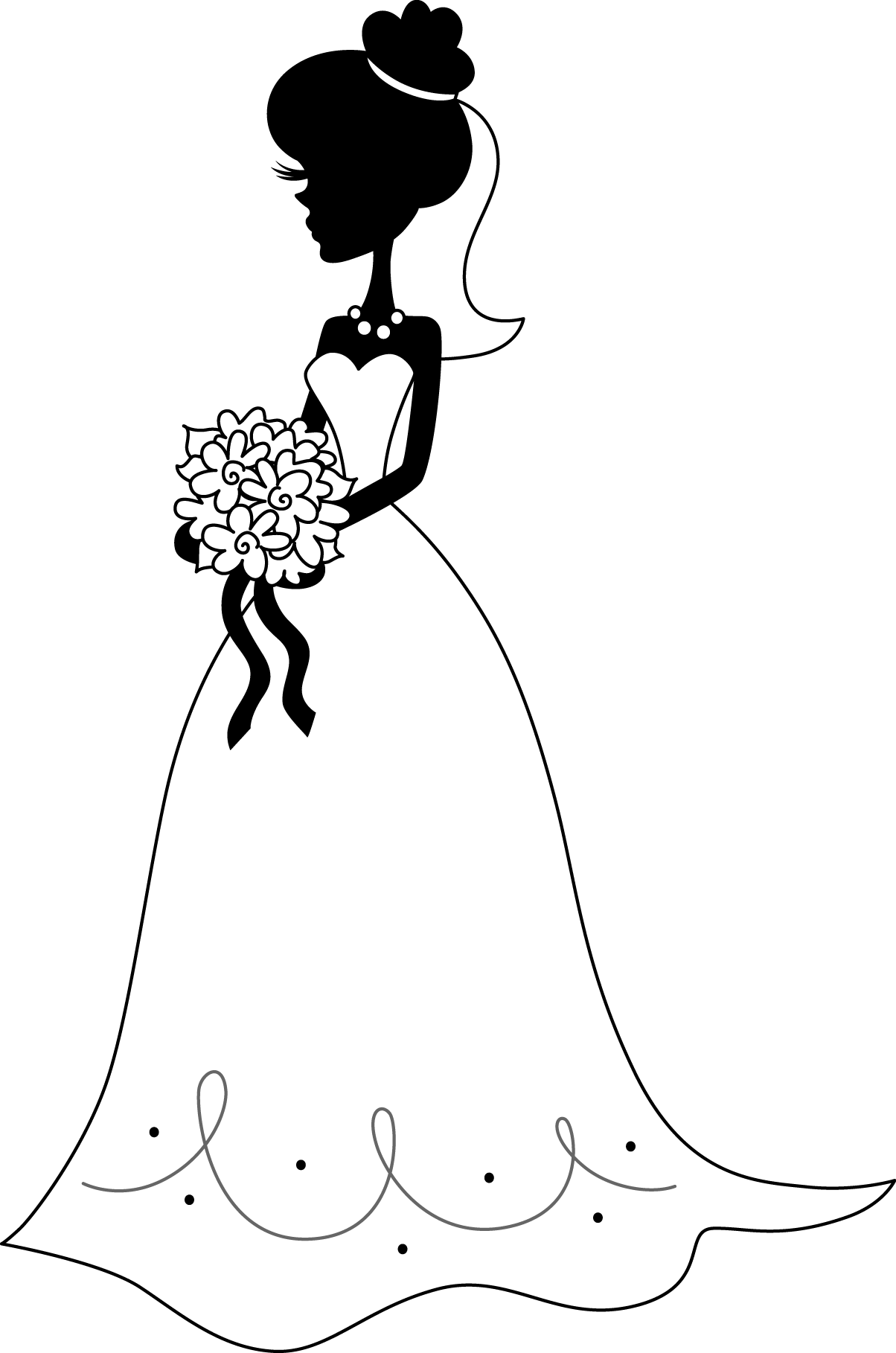 Bride PNG Black And White - 157297