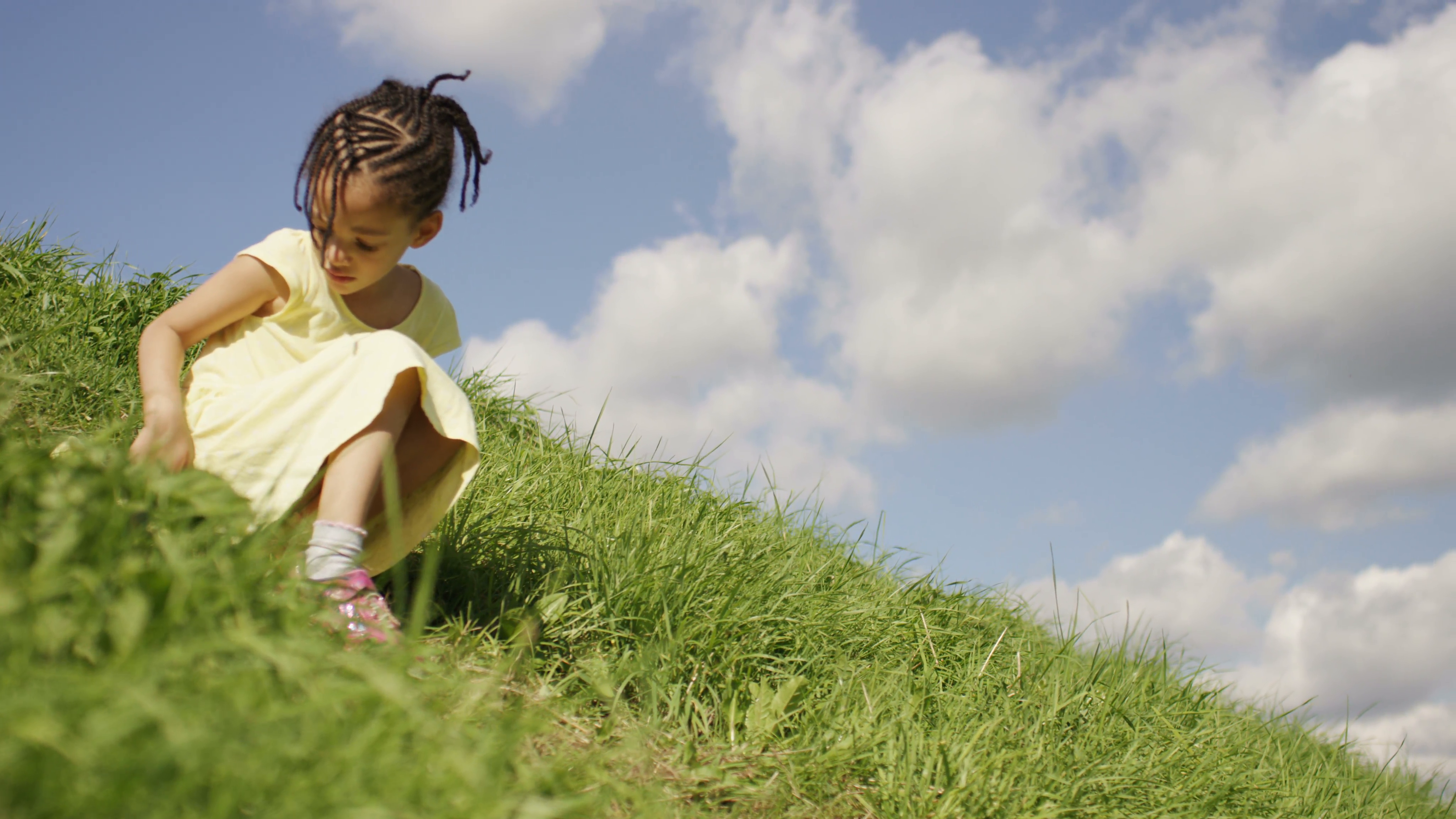 4K Little girl on a hill on a bright sunny day, in slow motion, shot on Red  Epic Dragon Stock Video Footage - VideoBlocks - Bright Sunny Day PNG