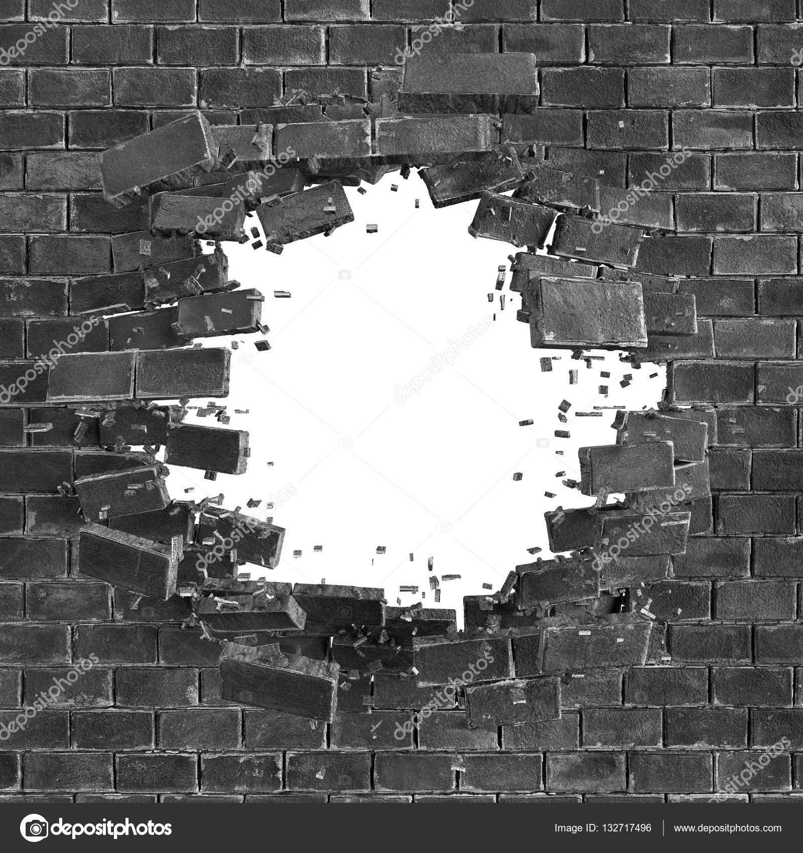 3d render, digital illustration, abstract broken brick wall background,  hole isolated u2014 Photo by wacomka - Broken Brick Wall PNG