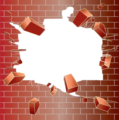Brick Wall with Hole - Broken Brick Wall PNG