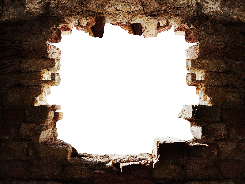 Broken Stone Wall With Hole PNG Background - Broken Brick Wall PNG