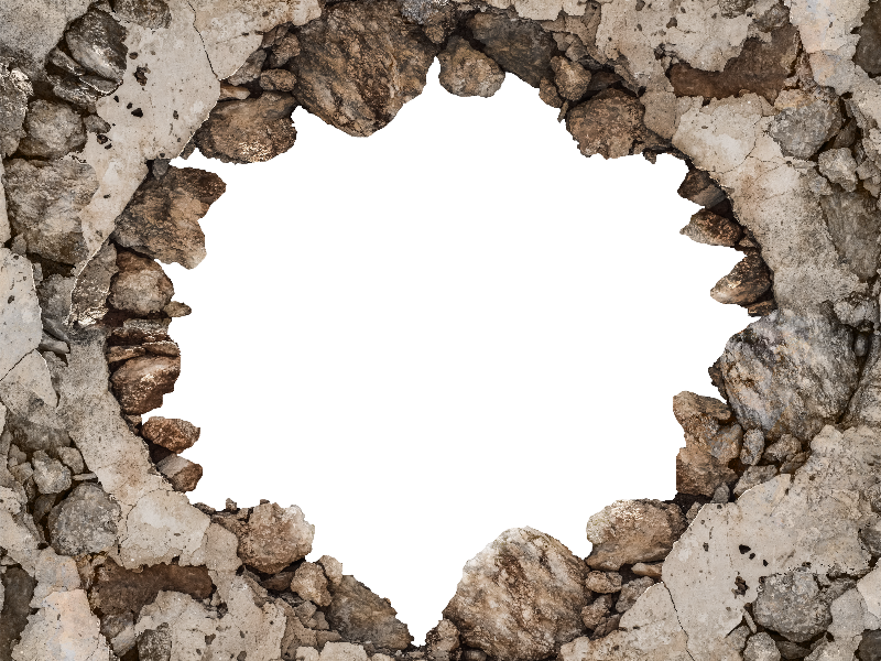 Cracked Broken Wall PNG Background For Photoshop - Broken Brick Wall PNG