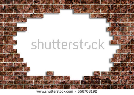 Hole in a old brick wall realistic broken on white background - grunge - Broken Brick Wall PNG
