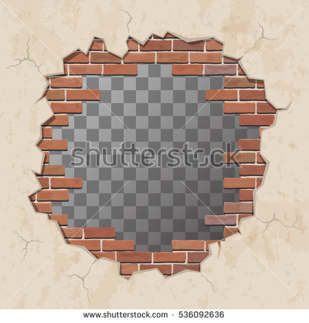 Red Broken Brick Wall With Hole. Shabby Plaster And Shattered Brickwork.  Vector Illustration. - Broken Brick Wall PNG