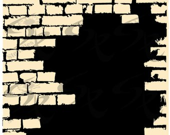 Vector BRICK WALL, a broken brick wall, clipart,SVG,dxf,ai - Broken Brick Wall PNG