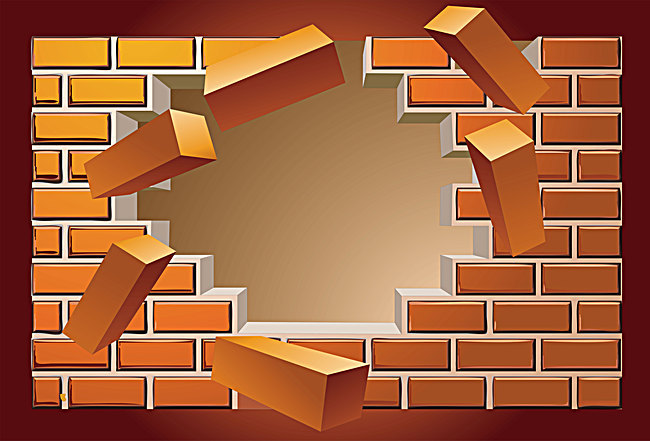 Vector broken brick wall background explosion - Broken Brick Wall PNG