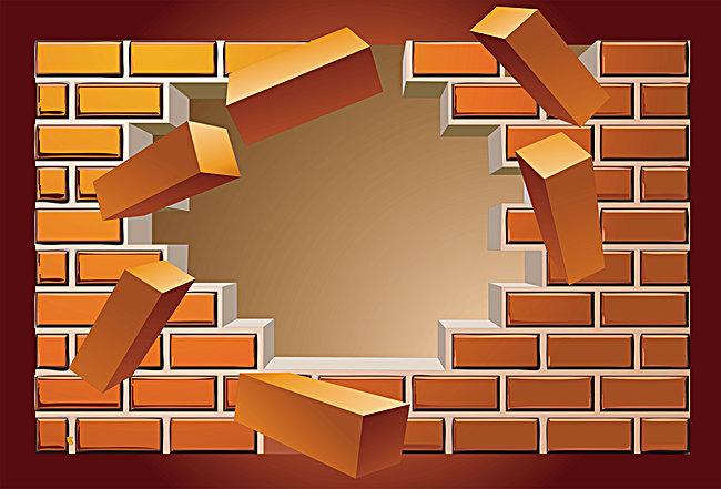 Vector broken brick wall back