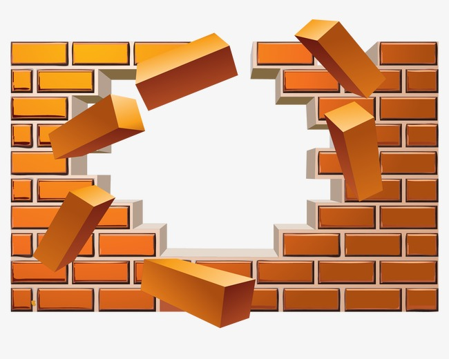 vector broken brick wall effect, Vector, Yellow, Brick Wall PNG and Vector - Broken Brick Wall PNG
