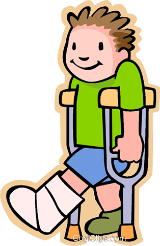 boy with broken leg Royalty Free Vector Clip Art illustration - Broken Leg PNG