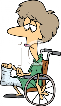 cartoon lady with broken leg