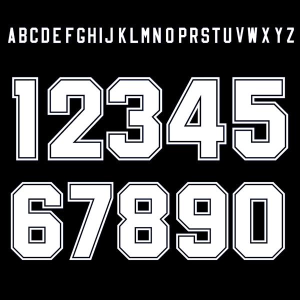 Bild von Retro Block Keyline Style Buchstaben u0026 Zahlen - Weiss - Buchstaben Und Zahlen PNG