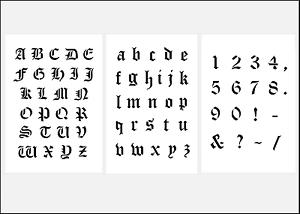 Das Bild wird geladen Scrapbooking-alte-Schrift-Schablonen-Buchstaben -ABC-gross-klein- - Buchstaben Und Zahlen PNG