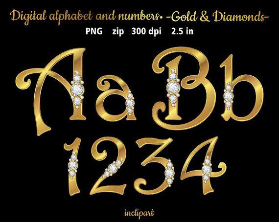 Diamanten in gold Alphabet und Zahlen ClipArt. Buchstaben, zahlen, Symbole  ClipArts. Diamanten u0026 Gold Alphabet. Instant-Download im PNG-Format. - Buchstaben Und Zahlen PNG