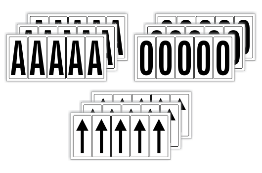 Zahlen- und Buchstaben Aufkleber - 85 x 37 mm - weiß - Buchstaben Und Zahlen PNG