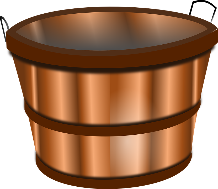 Bucket, Barrel, Keg, Trough, Wooden, Metallic, Antique - Bucket HD PNG