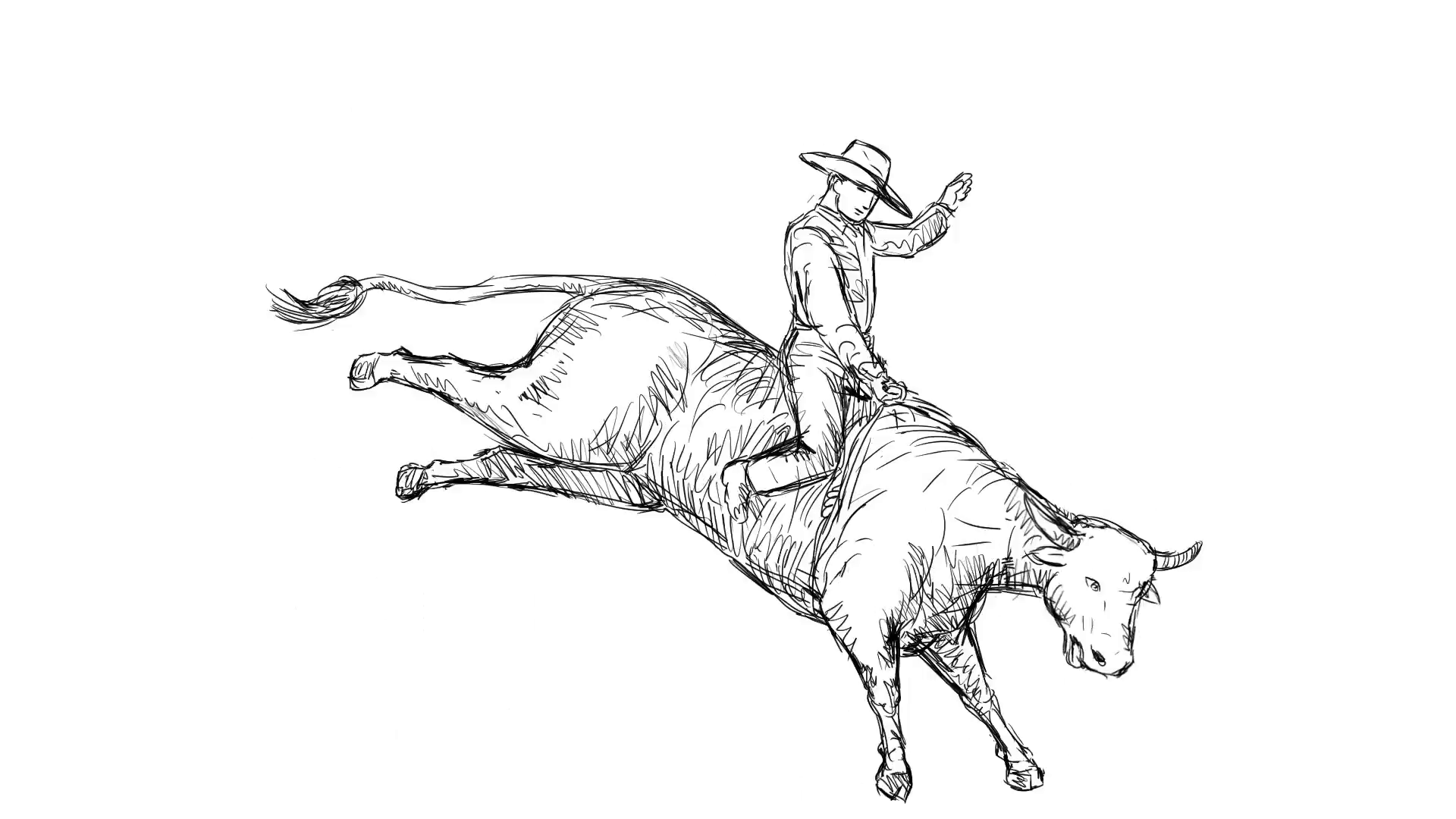 2d Animation motion graphics showing a rodeo cowboy riding a bucking bull  on white screen, green screen with alpha matte in HD high-definition. - Bucking Bull PNG