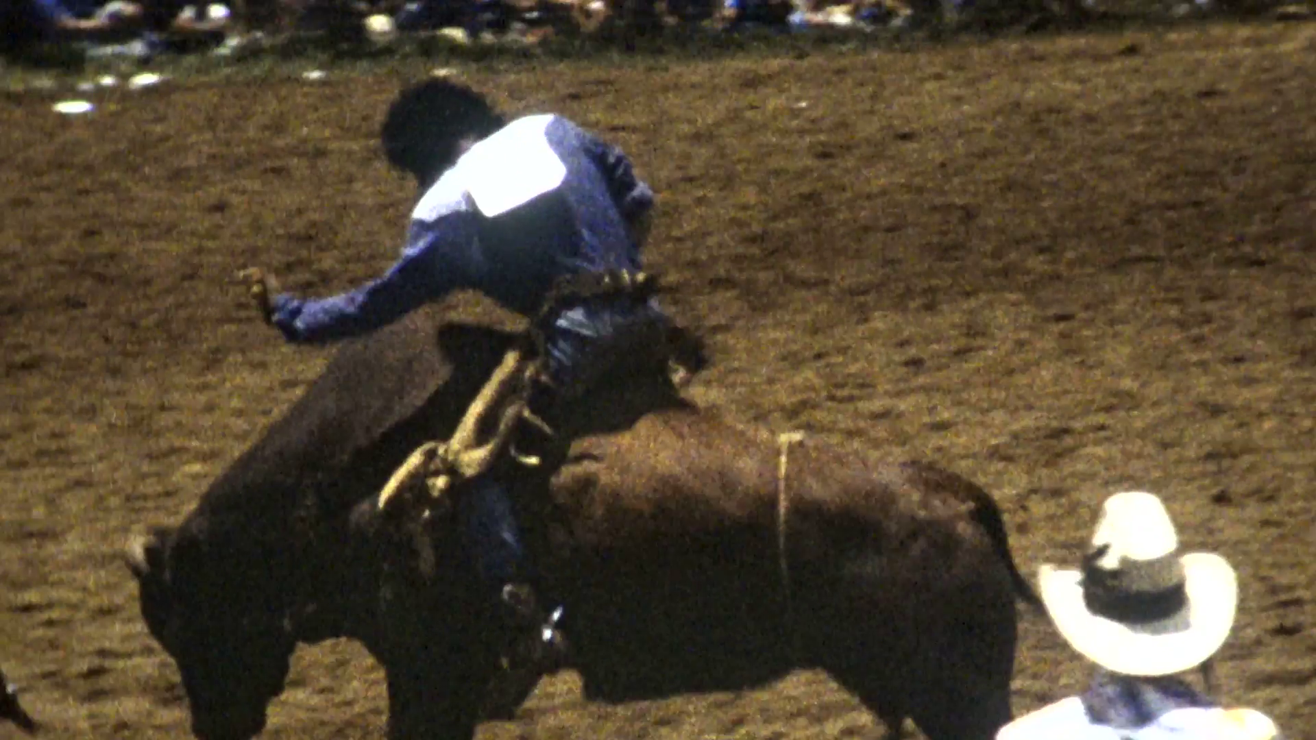 1989 Super 8mm American Western Cowboy Rodeo Bull Riding Competition u0026  Clowns 03 Stock Video Footage - VideoBlocks - Bull Riding PNG HD