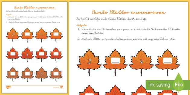 Bunte Blätter nummerieren Arbeitsblatt: Erstes Zählen - DE Herbst (Autumn),  Jahreszeiten, - Bunte Blatter PNG