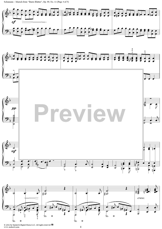 Bunte Blätter, Op. 99, No. 11, Marsch (March) Sheet PlusPng.com  - Bunte Blatter PNG