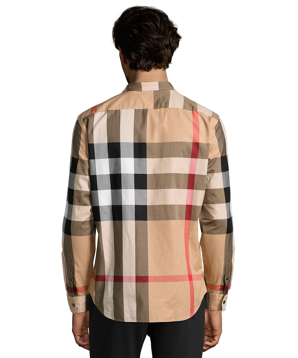 Burberry Burberry Brit Camel Nova Check Cotton u0027fredu0027 Button-Down Shirt - Burberry Clothing PNG