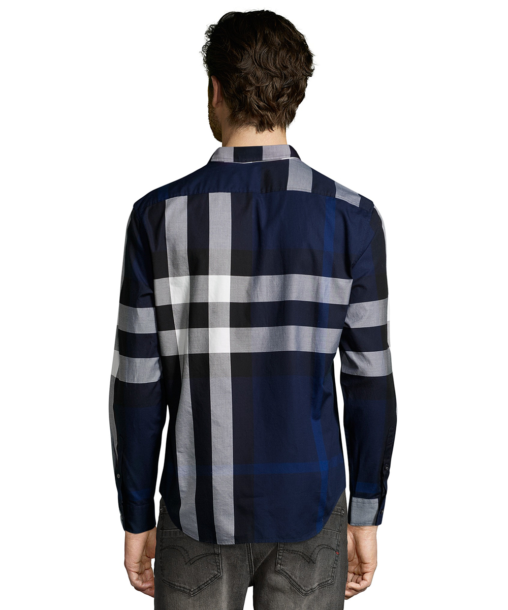 Burberry Burberry Brit Indigo Blue Nova Check Cotton u0027fredu0027 Button-Down  Shirt - Burberry Clothing PNG