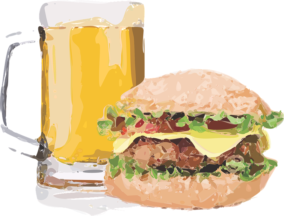 burger brew beer cheeseburger sandwich lunch food - Burger And Beer PNG