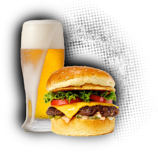 Featured Food Item - Burger And Beer PNG