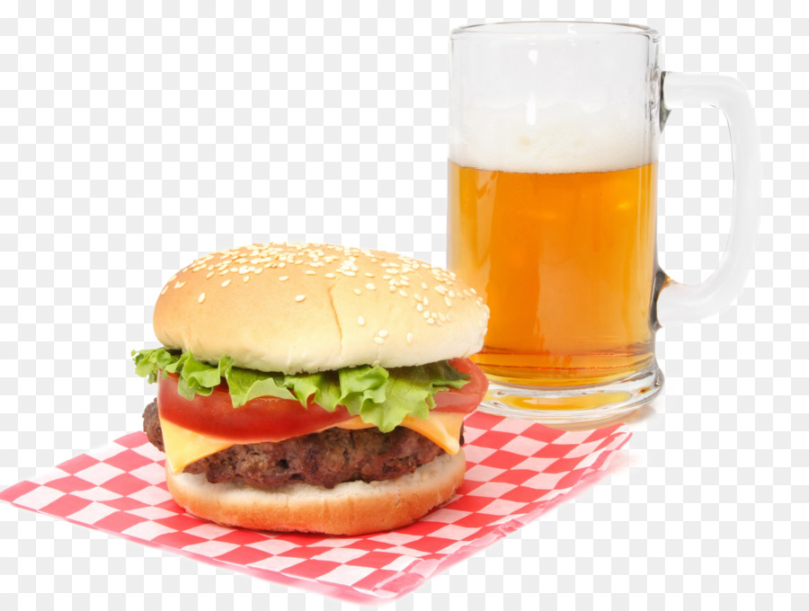 Hamburger Beer Veggie burger Cheeseburger French fries - Burger and beer - Burger And Beer PNG