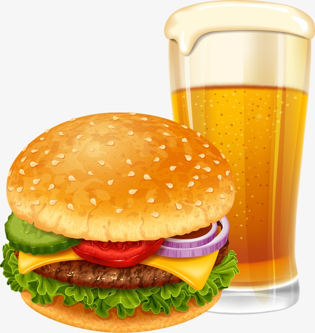 vector cheeseburger with beer, Beer, Cartoon Beer, Hamburger PNG and Vector - Burger And Beer PNG