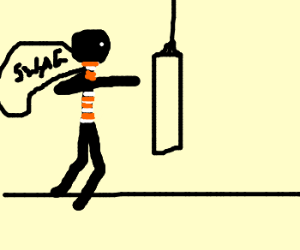Burglar with swag slugs a punching bag for fun - Burglar PNG Swag