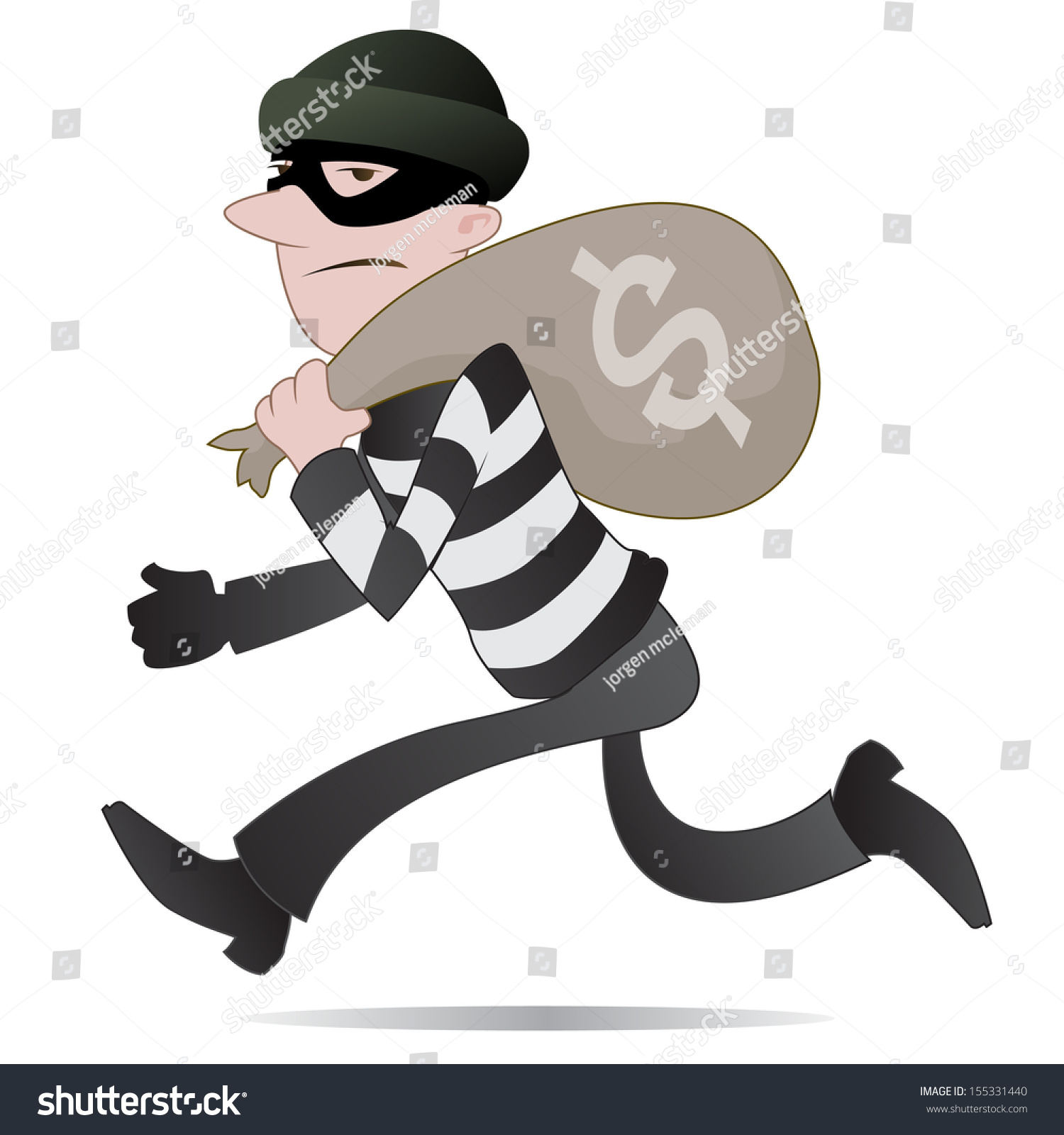 Thief. illustration of a burglar running away with his swag and ill-gotten  gains - Burglar PNG Swag