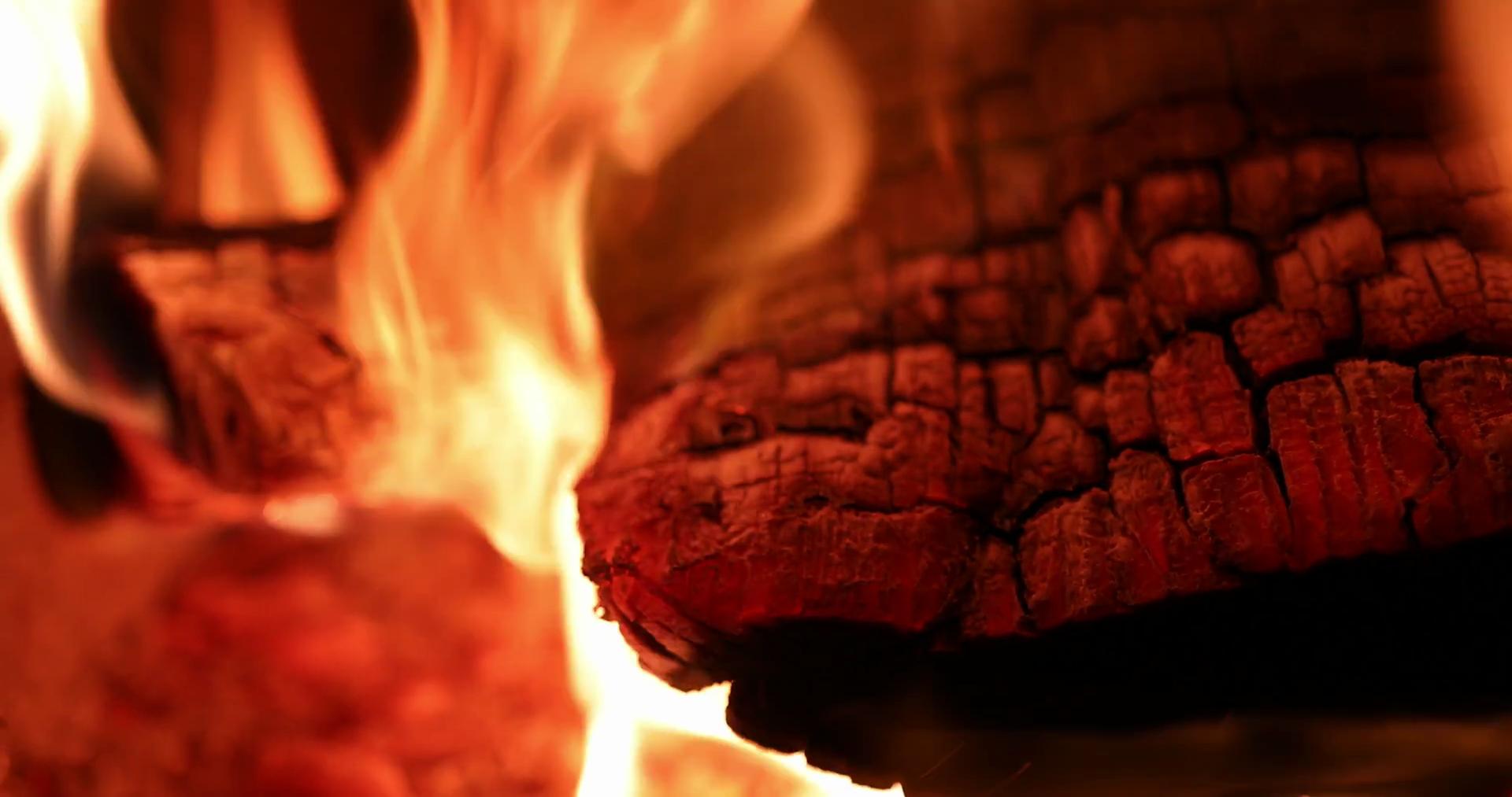 4K Fireplace Burning Wood Fire Hot Stove Macro Slider Shot - Burning Wood PNG
