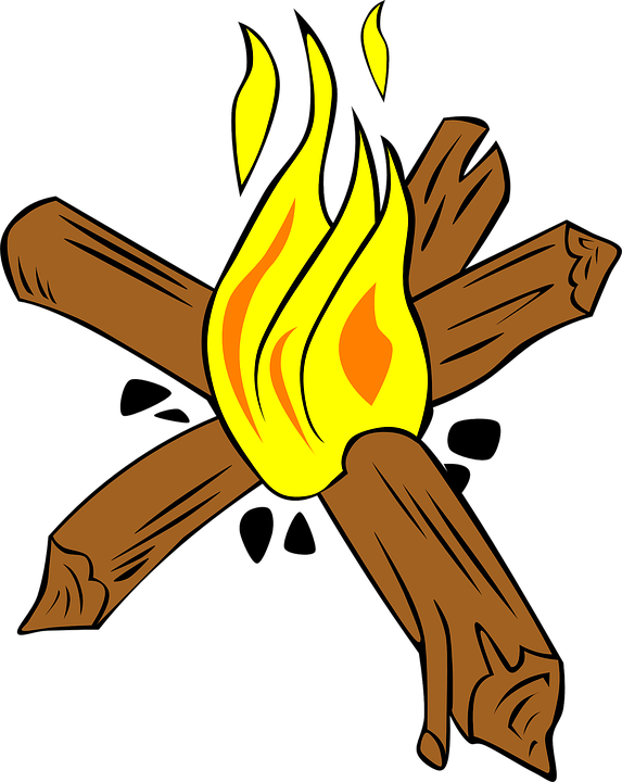 Campfire Fire Wood Burn Heat Bonfire Warm Light - Burning Wood PNG