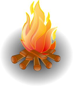 Fire 1 Clip Art - Burning Wood PNG