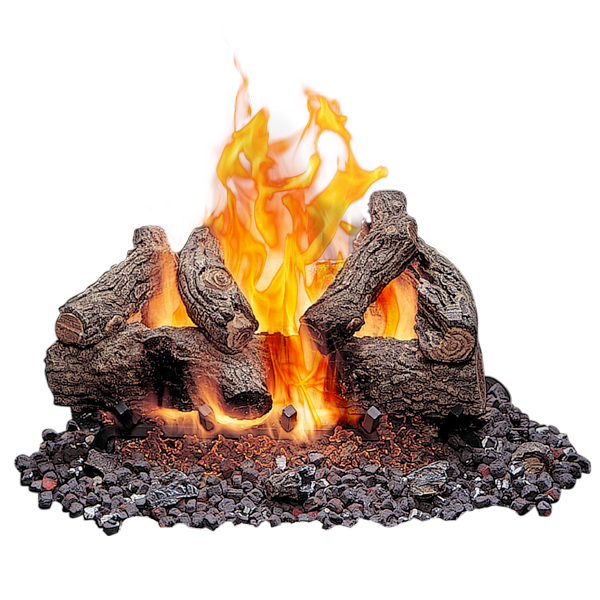 Outdoor Vented Gas Logs - Burning Wood PNG