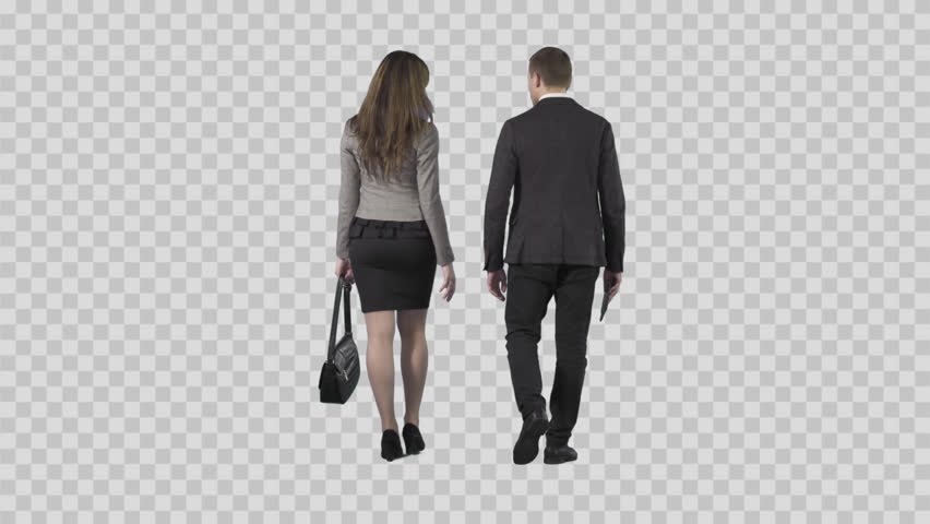 Business Man And Girl In Office Suit Are Slowly Walking From The Camera.  The Camera Is Static. Lens 85 Mm. Footage With Alpha Channel. - Business HD PNG