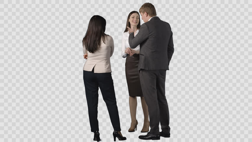 Male and two young women in office clothes are standing and looking at  something behind them - Business HD PNG