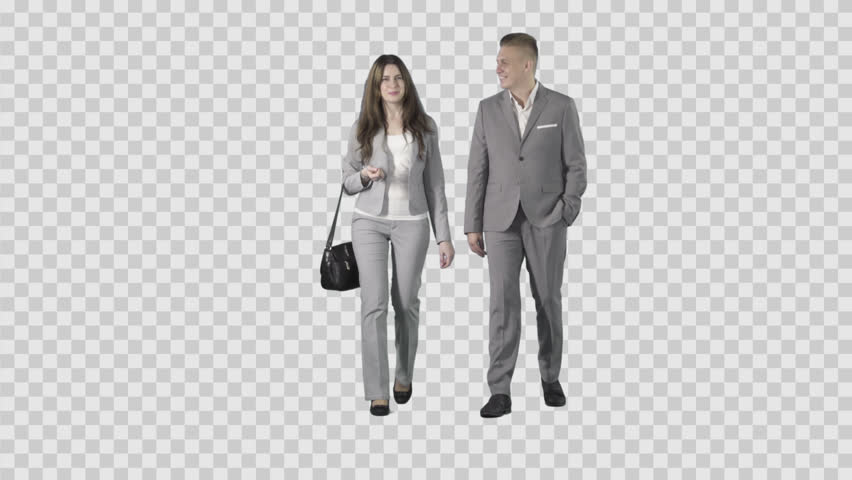 Male u0026 Girl In Gray Business Clothes Are Walking At The Camera. Footage  With Alpha Channel. Lens 85 Mm. Camera Is Static. - Business HD PNG
