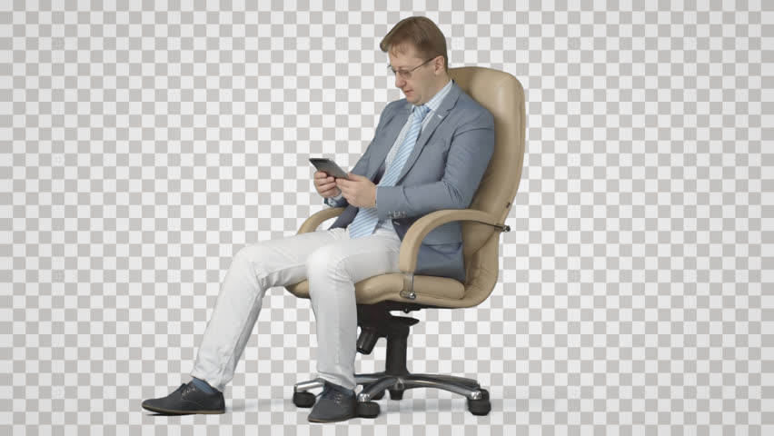 Sitting businessman in armchair has bad news. Side view on alpha matte.  File format - Business HD PNG