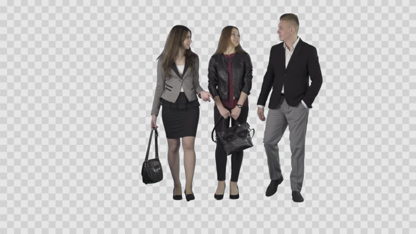 Two Girls u0026 Male In Business Clothes Are Walking At The Camera. Lens 85 Mm.  Camera Is Static. Footage With Alpha Channel. - Business HD PNG