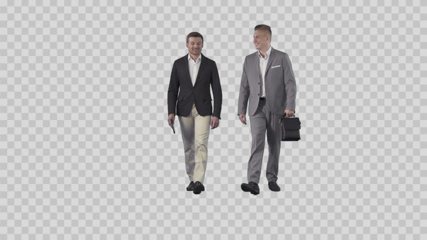 Two men in business clothes are going together at the camera. Camera is  static. - Business HD PNG