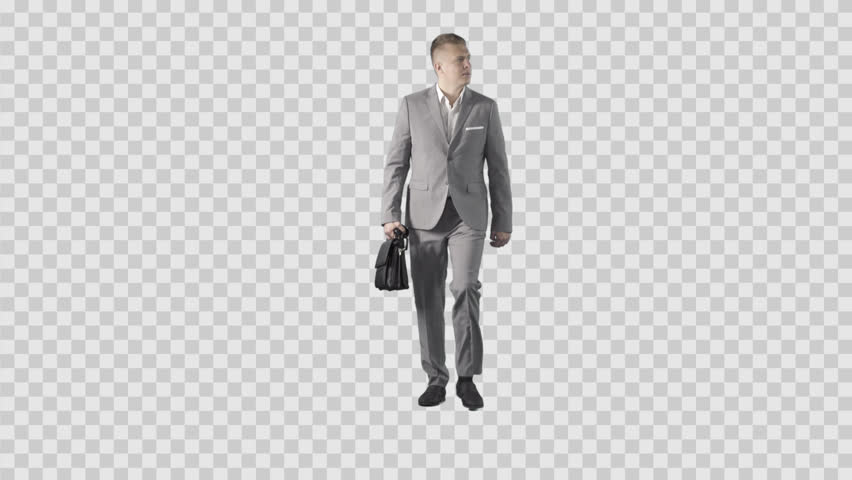Young Male In Gray Business Suit Is Walking At The Camera. Lens 85 Mm.  Camera Is Static. Footage With Alpha Channel. File Format - .mov, Codec PNG Alpha  PlusPng.com  - Business HD PNG