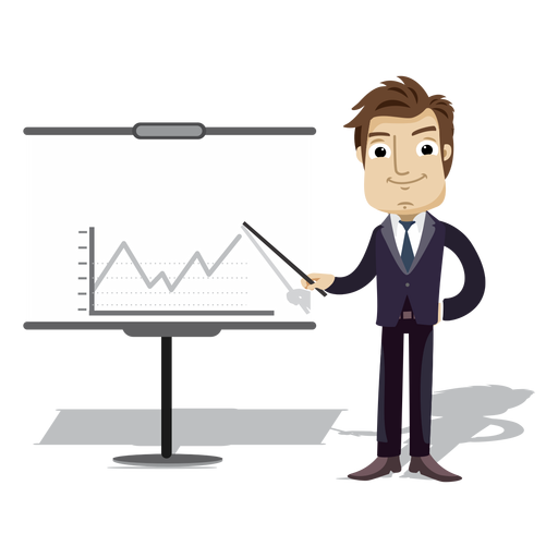 Businessman cartoon presenting chart board png