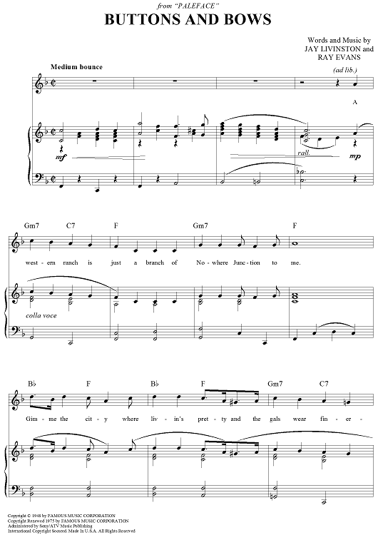 Buttons And Bows Sheet Music Preview Page 1 PlusPng.com  - Buttons And Bows PNG