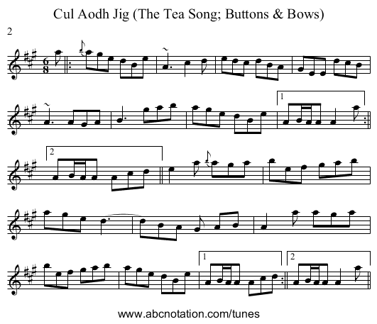 Cul Aodh Jig (The Tea Song; Buttons u0026 Bows) - staff notation - Buttons And Bows PNG